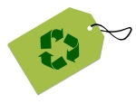 gift tag with recycling symbol